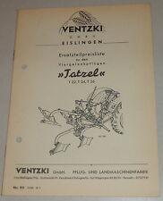 Teilekatalog Ventzki Viergelenkpflüge Tatzel T 22  T 24 / T 26 Stand 10/1960