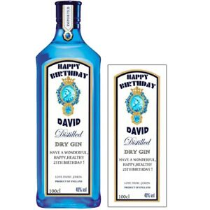 personalised Bombay Sapphire Gin bottle label birthday any occasion BL125
