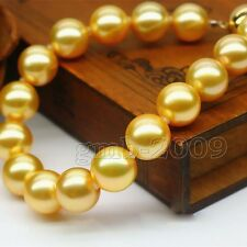 Promotion! new South Sea Yellow shell pearl 8mm round loose beads long 15''