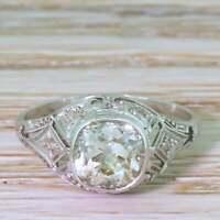 Art Deco Vintage Ring Engagement Wedding Ring 2.7 Ct Diamond 14k White Gold Over