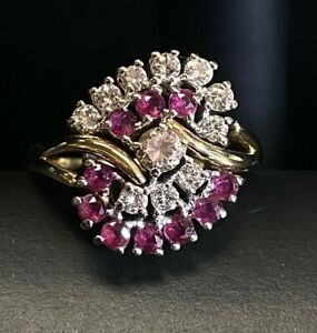 Antique 14k Yellow Gold Ruby & Diamond Cluster Ring - 1 cttw