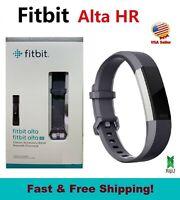 Fitbit Alta HR monitor FB408 Activity Tracker Graphite Blue Gray Small Large