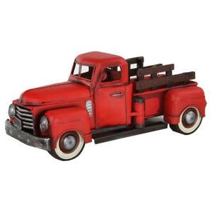 1950 Metallo Rosso Vecchio Camion Statuetta Vintage Veicolo Modello Scala 1:12