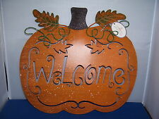 Fall Autumn Welcome Sign 10 inch Pumpkin Motif Fall Autumn Colors 5