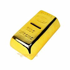 Gold Bar Bullion Piggy Bank Brick Coin Bank Saving Money Box 999.9 Pure Novelty