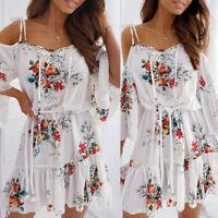 ❤️ Women Ruffle Cold Shoulder Midi Dress Ladies Casual Summer Floral Swing Dress
