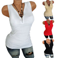 Womens V Neck Blouse Zipper Solid T-shirts Summer Tank Tops Vest Shirt Plus Size