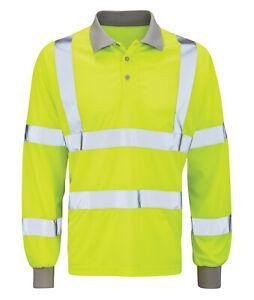 Hi Vis Hi Visibility Long Sleeve Polo Shirt - Hi Viz Yellow - HVLSP