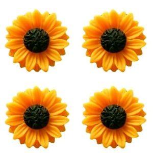 Sunflower Charm Orange Pendant Resin Pack of 10