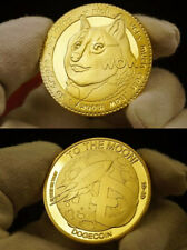 Physical Dogecoin Doge Gold-Plated Metal Coin Round Token Crypto Bitcoin Moon
