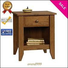 Table Nightstand Bedroom Bedside Storage Shelf Drawer Wood Living Room Furniture