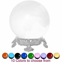 Crystal Ball Sphere for Feng Shui, Meditation, Decor, with Silver Eagle Stand