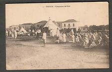 Morocco unmailed post card Tanger Campement de Caid / people tents