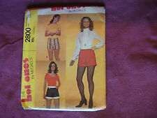 """Vintage McCalls Pattern 2800 Miss 'Short' Shorts 1971 Waist 24"""" Hip 34.5"""""""