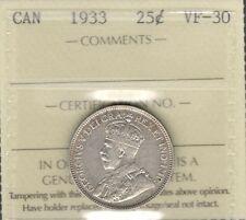 1933 Twenty-Five Cents ICCS Graded VF-30 HIGH Grade SCARCE Date George V Quarter