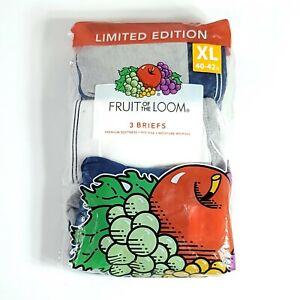 3 Pack Fruit of the Loom Limited Edition Vintage Design Briefs XL Underwear