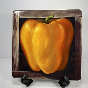 "Certified International Jay Mercado Yellow Orange Pepper  8""  Salad Snack Plate"