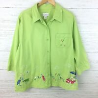 CJ Banks Women's Bright Green Button Front Shirt Embroidered Golf Print Top 1X