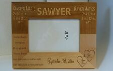 Personalized Engraved 4x6 picture frame newborn baby twins Birthday welcome Gift