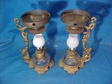 2-19thc MINIATURE Glass + Iron CRESOLENE Kerosene VAPOR LAMPS