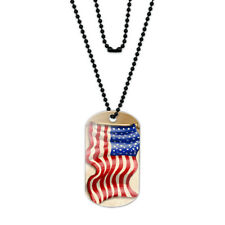 Vintage American Flag Acrylic Dog Tag with Black Ball Chain