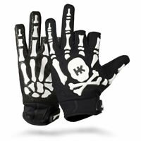 HK Army Paintball Full Half Fingerless Bones Gloves Protective White - Medium M
