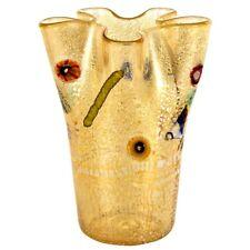 Vaso in vetro di Murano a fazzoletto colore champagne con murrina idea regalo