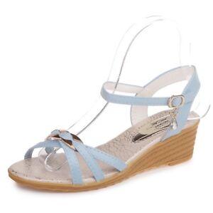 Women's Slingbacks Sandals Wedge Heels Peep Toe Casual Ankle Strap Buckle Shoes