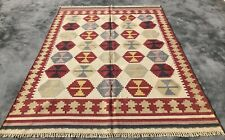Authentic Hand Knotted Woven Vintage Wool Kilim Kilm Area Rug 8 x 6 Ft