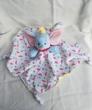 Doudou Dumbo plat éléphant bleu col rose dessous satin jaune noeuds motif Disney