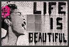 Framed Banksy - Life Is Beautiful 36x24 Giclee Urban Graffiti Art Home Decor