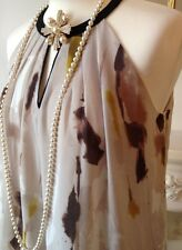 MANGO Elegant Multicolour Print Halterneck Dress FR38 UK10 NWOT!