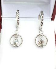 18k Solid White Gold Cute Heart Dangle Hoop Earrings, Diamond Cut 1.60 Grams