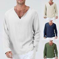 Men Summer T-Shirt Solid Thai Hippie Loose Shirt V-Neck Beach Yoga Top Blouse US