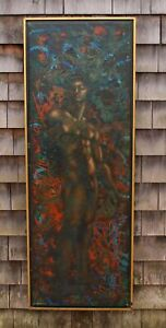 LESTER RUSSON Mid-Century Modern Classical NUDE MAN Male Figure Oil Painting