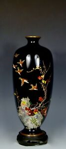 FINE ANTIQUE SILVER WIRE JAPANESE MEIJI CLOISONNE VASE BIRDS/ROCK/TREE