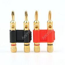 2 Stk Steckverbinder Stapelbar Doppel 4mm Bananen Stecker Lautsprecher Plug