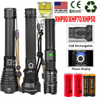 990000LMS XHP90 XHP70 XHP50 LED Zoomable USB Rechargeable 18650 Flashlight Torch