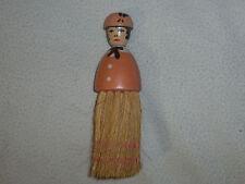 "Vintage Wooden Figural Woman Figure Brush Victorian Lady Vanity Antique Crumb 6"""