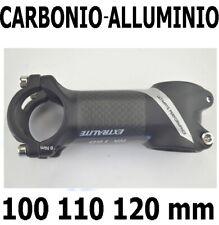 ATTACCO MANUBRIO 100 110 120mm FIBRA CARBONIO-ALLUMINIO BICI CORSA MOUNTAIN BIKE