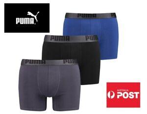 NEW Puma Men's Cotton Stretch Boxer Brief 3 Pack Sport Underwear AU STOCK
