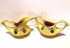 Vintage Pearl China Yellow Open Sugar Bowl & Creamer Set w/22 Kt Gold Roses