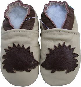 carozoo hedgehog cream 12-18m soft sole  leather baby shoes