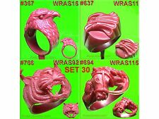 # SET 30 8 WAX PATTERNS CHARMS EAGLE HORSE TIGER MOLDS   RUBBER GOLD