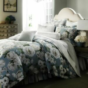 Bloomingdales 1872 Serena Queen Duvet and Shams Blue w/ Floral Pima Cotton