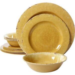 Studio California Dinnerware Set Service For 4 Dinner Plate Bowl Yellow 12 Piece