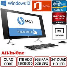 """HP ENVY 24-N075NA INTEL QUAD CORE i7 24"""" QHD LED 1TB HDD 128GB SSD 8GB RAM AIO"""