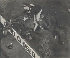 PHOTOGRAPH OF POLICE OFFICER ON HORSEBACK JUMPING ROADBLOCK - IN MATTE FRAME