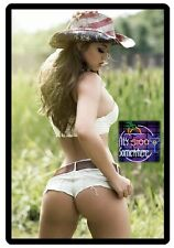 Sexy Five O'clock Neon Beer Cowgirl In White Shorts Refrigerator Magnet