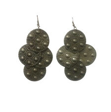 BRONZE EFFECT LARGE DISC EARRINGS -   **FREE**  SAME DAY POSTAGE